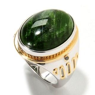 Michael Valitutti Palladium Silver Chrome Diopside & Black Diamond Ring