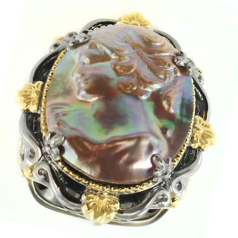 Michael Valitutti Palladium Silver Cameo Mabe Pearl & Blue Sapphire Ring