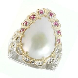 Michael Valitutti Palladium Silver White Mabe Pearl & Pink Sapphire Ring