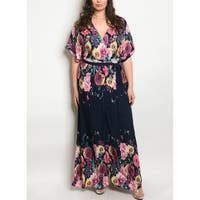 JED Women's Plus Size V-Neck Floral Maxi Dress