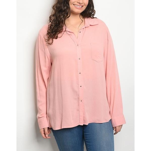 7808f9a2f Shop JED Women's Plus Size Long Sleeve Button Down Shirt - Free ...