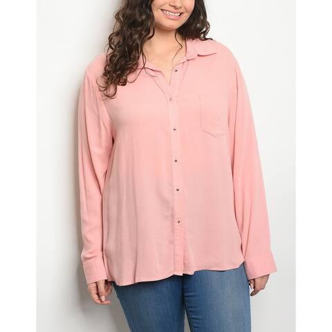 JED Women's Plus Size Long Sleeve Button Down Shirt