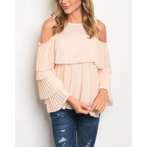 JED Women's Pleated Ruffles Cold Shoulder Blouse