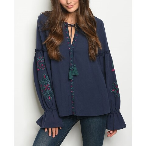 JED Women's Bell Sleeve Floral Embroidered Tunic Top