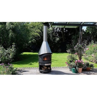 Mercatus Black/Silver Stainless Steel BBQ Fireplace