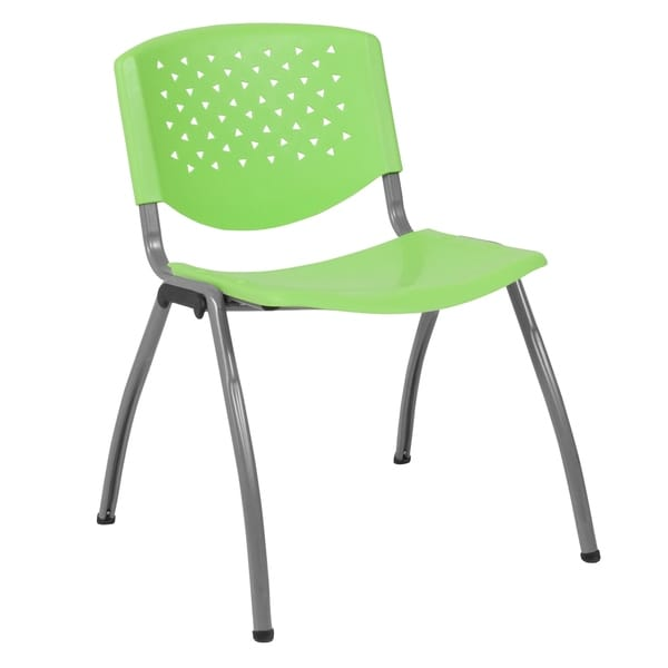 880 lb. Capacity Perforated Back Plastic Stack Chair with Gray Frame