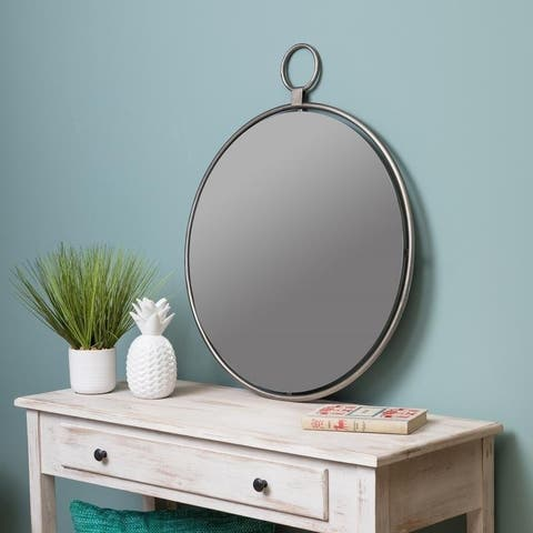 """Lily Gray 25.5"""" x 30.5"""" Oversized Wall Mirror - Grey/Silver"""