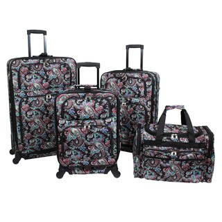 World Traveler Paisley 4-piece Rolling Expandable Spinner Luggage Set