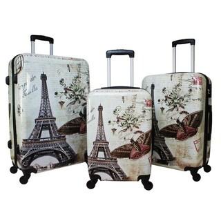 World Traveler Destinations Paris 3-Piece Hardside Spinner Luggage Set