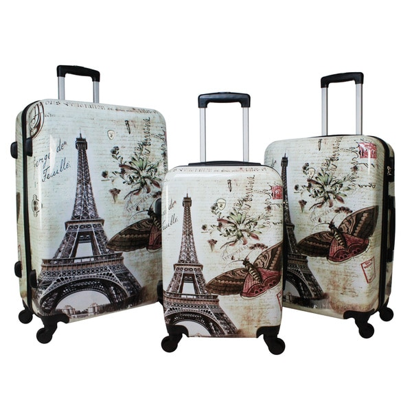 ebf836cdc World Traveler Destinations Paris 3-Piece Hardside Spinner Luggage Set