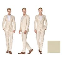 GV Men's Slim Fit Pure Linen 2pc Suites