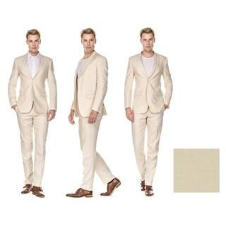 GV Men's Slim Fit Pure Linen 2pc Suites