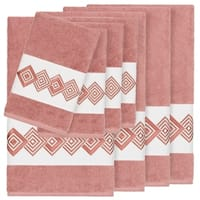 Authentic Hotel and Spa Turkish Cotton Diamonds Embroidered Tea Rose 8-piece Towel Set
