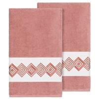 Authentic Hotel and Spa Turkish Cotton Diamonds Embroidered Tea Rose 2-piece Bath Towel Set