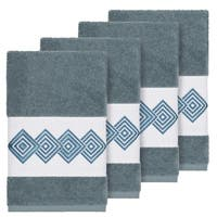 Authentic Hotel and Spa Turkish Cotton Diamonds Embroidered Teal Blue 4-piece Hand Towel Set