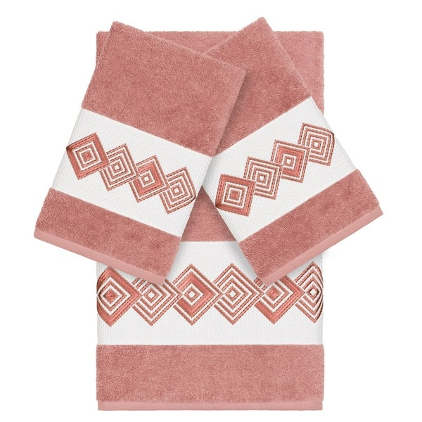Authentic Hotel and Spa Turkish Cotton Diamonds Embroidered Tea Rose 3-piece Towel Set