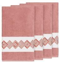 Authentic Hotel and Spa Turkish Cotton Diamonds Embroidered Tea Rose 4-piece Bath Towel Set