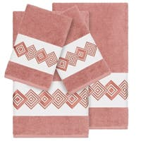 Authentic Hotel and Spa Turkish Cotton Diamonds Embroidered Tea Rose 4-piece Towel Set
