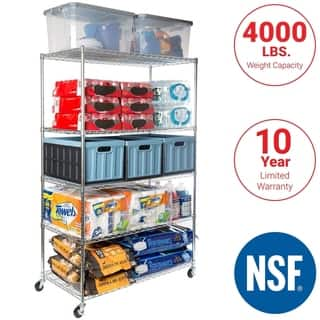 Seville Classics 48 in W x 24 in D x 72 in H, UltraDurable Commercial-Grade 5-Tier Steel Wire Shelving with Wheels