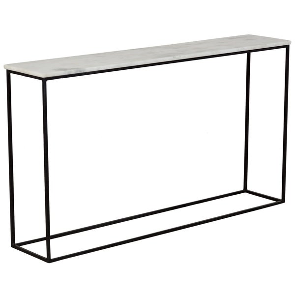 Wanderloot Arezzo White Marble And Black Metal Console Table