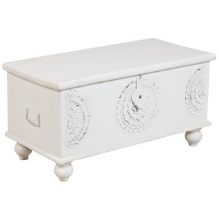 Wanderloot Leela White Wood Hand-carved Medallion Storage Trunk/Coffee Table