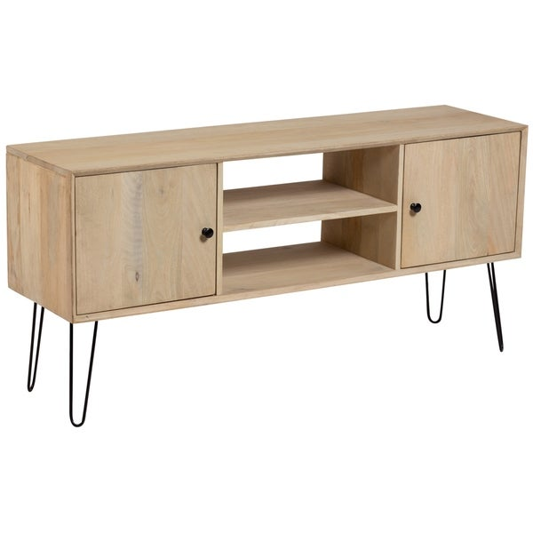 Wanderloot Graphik Contemporary Solid Mango Wood Hairpin Legs Tv Stand 515l X 14w X 24h