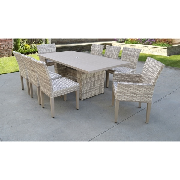 Fairmont Rectangular Outdoor Patio Dining Table With 6 Armless Chairs And 2  Chairs W/ Arms - Fairmont Rectangular Outdoor Patio Dining Table With 6 Armless