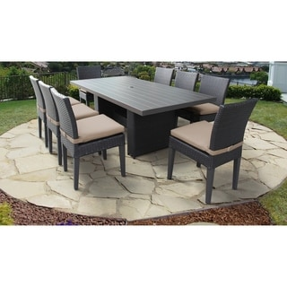 Belle Rectangular Outdoor Patio Dining Table with 8 Armless Chairs