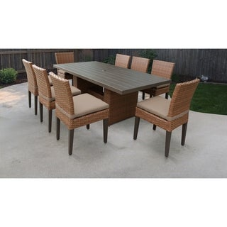 Laguna Rectangular Outdoor Patio Dining Table with 8 Armless Chairs