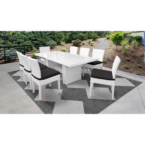 Miami Rectangular Outdoor Patio Dining Table with 8 Armless Chairs