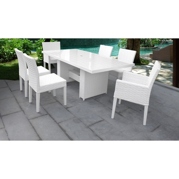 Monaco Rectangular Outdoor Patio Dining Table with with 4 Armless Chairs and 2 Chairs w/ Arms
