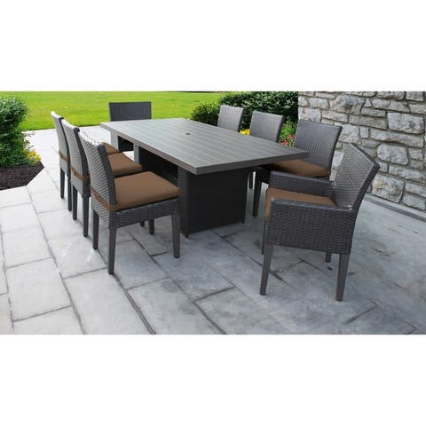 Barbados Rectangular Outdoor Patio Dining Table With 6 Armless Chairs And 2 W Arms