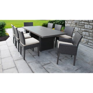 Belle Rectangular Outdoor Patio Dining Table With 6 Armless Chairs And 2 Chairs W/ Arms