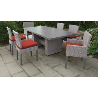 Florence Rectangular Outdoor Patio Dining Table with 4 Armless Chairs and 2 Chairs w/ Arms