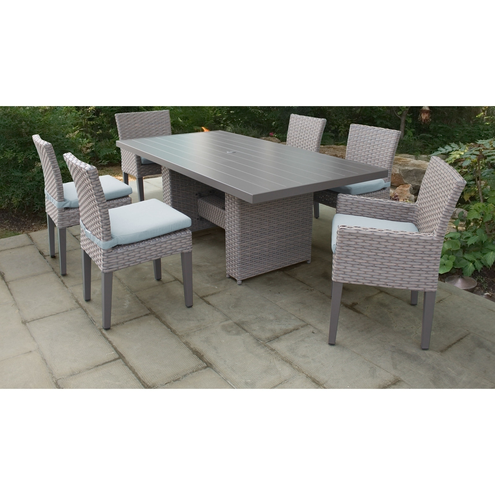 Monterey Rectangular Outdoor Patio Dining Table With 4 Armless Chairs And 2 W Arms