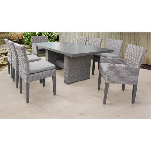 Florence Rectangular Outdoor Patio Dining Table With 6 Armless Chairs And 2 Chairs W/ Arms
