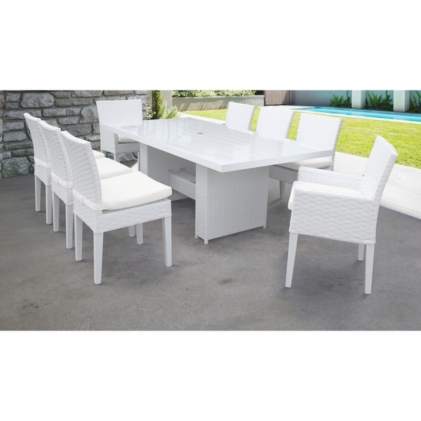 Miami Rectangular Outdoor Patio Dining Table with with 6 Armless Chairs and 2 Chairs w/ Arms