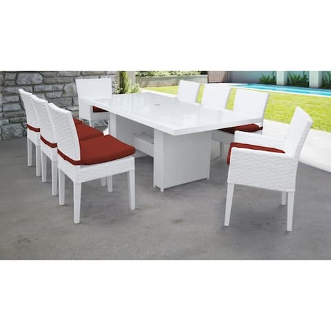 Monaco Rectangular Outdoor Patio Dining Table with with 6 Armless Chairs and 2 Chairs w/ Arms
