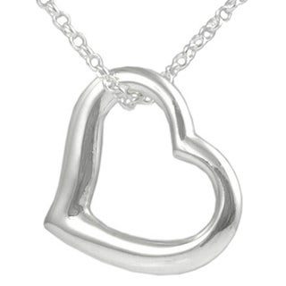 Sterling Silver Cut-out Heart Pendant Necklace
