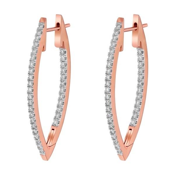 71b6faf0c 14k Rose Gold 1ct TDW Marquise Inside Out Diamond Hoop Earrings - White H-I