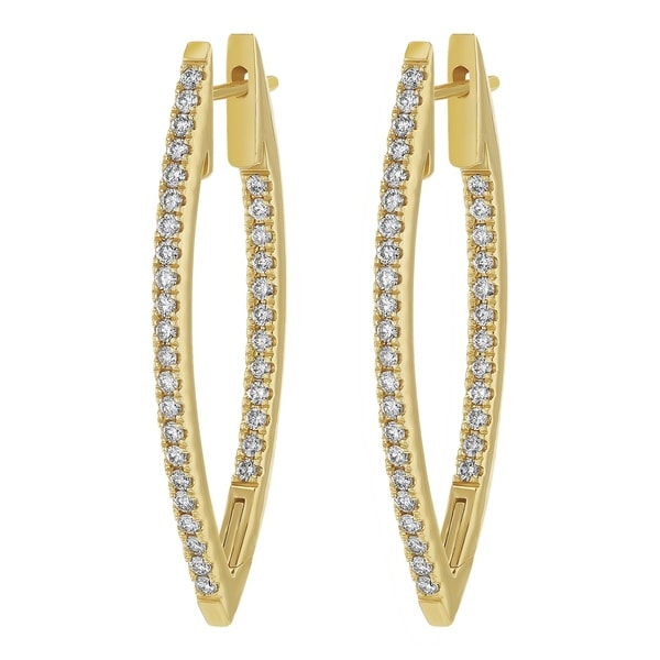 72d2cb94ed2dd6 14k Yellow Gold 1ct TDW Marquise Inside Out Diamond Hoop Earrings - White  H-I