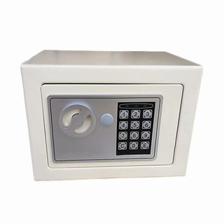 17E Home Use Electronic Password Steel Plate Safe Box White Body & Silver Gray Panel