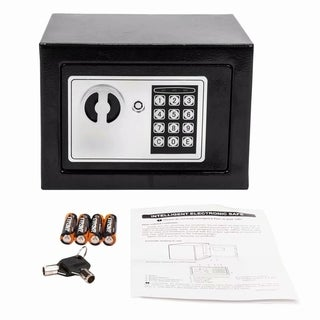 17E Home Use Electronic Password Steel Plate Safe Box Black