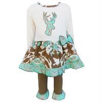 AnnLoren Girls Cream, Blue & Brown Floral Deer Dress & Leggings