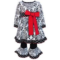 AnnLoren Girls Black & White Damask Dress with Red Bow & Pants Set