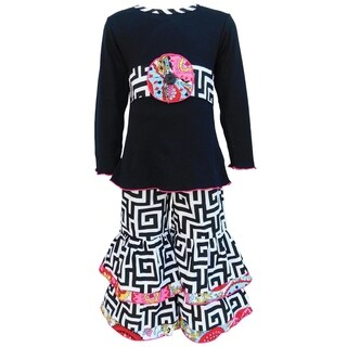 AnnLoren Girls Black Geometric Heart with Floral Trim Top & Pant Set
