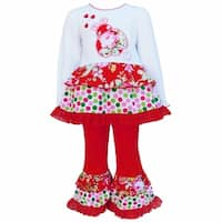 AnnLoren Girls Red 2-Pc Polka Dot & Floral Long Sleeve Lady Bug Outfit