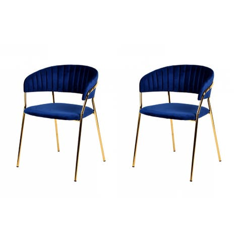 Modrest Brandy Modern Blue Velour Dining Chair (Set of 2)