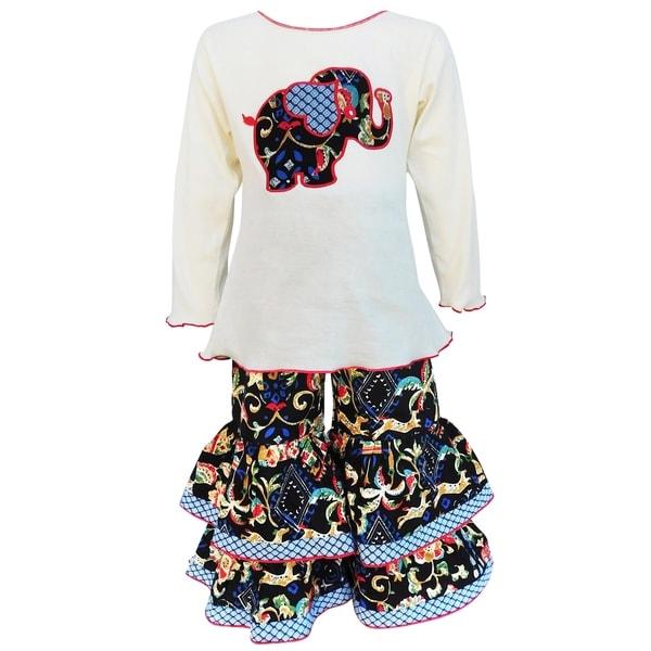 AnnLoren Girls Cream Cotton Elephant Top & Print Leggings Set