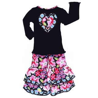 AnnLoren Girls Long Sleeve Black Knit Floral Heart Top & Pants Outfit
